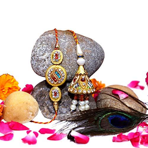 Rakhi for Brother and Bhabhi and Lumba Rakhi Set, 2 Rakshabandhan Roli Chawal
