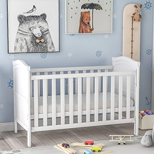Solid Wooden Baby Cot Bed Toddler Junior Bed with Foam Mattress, Single-Handed Dropside, Teething Rails and Safety Barrier (White)