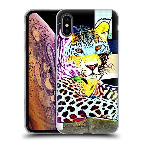 Head Case Designs Oficial Michel Keck Leopardo Collage Animal Carcasa de Gel de Silicona Compatible con Apple iPhone XS MAX
