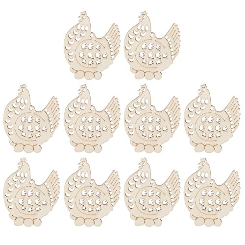 BESTOYARD Christmas Easter Wooden Hanging Chickens Ornaments Xmas Decorations 10 Pcs
