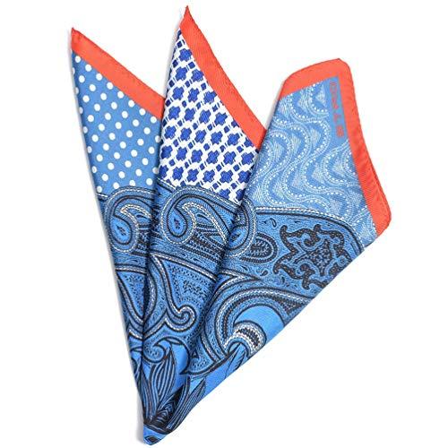[エトロ] ポケットチーフ スクエア ハンカチ メンズ シルク 100% 総柄 ブルー イタリア ブランド イタリア製 ギフト 【並行輸入品】