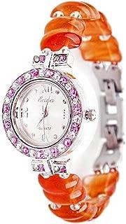Watch Business Fashionable Wrist Watch Natural Agate Crystal Heart-Shaped Bracelet Wristwatch Creative Waterproof Quartz Watch with Rhinestone, Fashion Watch