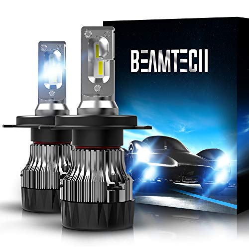 BEAMTECH H4 LED Bulbs,6500K Extremely Super Bright 9003 30mm Heatsink Base CSP Chips Conversion Kit,Xenon White Small Size Halogen Replacement