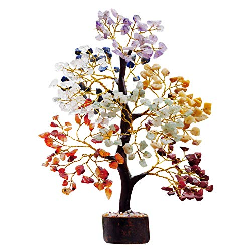 Seven Chakra Aura Cleansing Gemstone Tree Ornament Gift Natural Healing Crystal Tree of Love Feng Shui Money Bonsai Home Decor for Wealth and Luck Prosperity Handcrafted (Size 10-12 Inch)