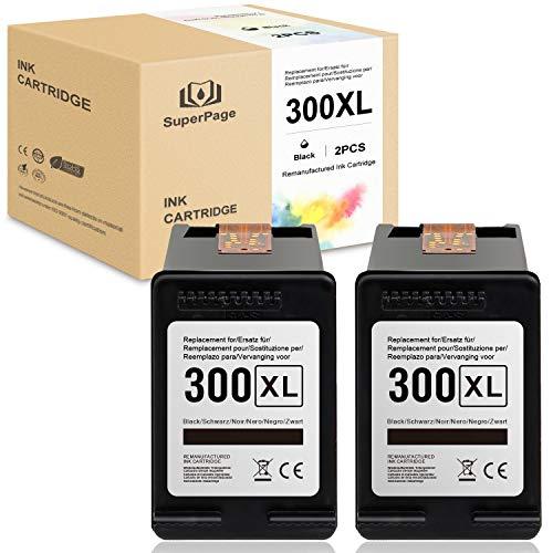 2 Superpage 300XL riciclata Cartucce d'inchiostro sostituzione per HP 300 XL per HP Deskjet F4280 F4580 D1660 D2560 D2660 D5560 F4240 Envy 114 120 110 Photosmart C4780 C4680 D110a stampanti,nero