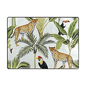 La Random Large Soft Rug 80×58 Inches Tropical Leopard Toucan Non-Skid Lightweight Kids Nursery Yoga Rugs Play Mat for Living Room Bedroom Floor Mats