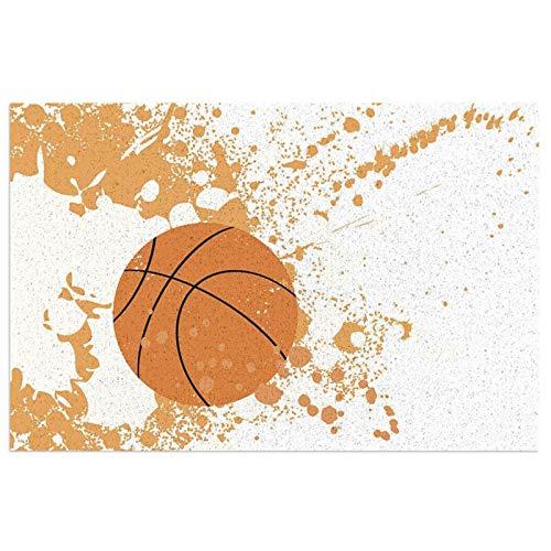 Baloncesto Naranja Splash Exterior Patio Alfombrilla de PVC, Felpudo de bienvenida Alfombras con respaldo de goma Alfombras de piso Alfombra antideslizante para vestíbulo, porche delantero, puerta tra