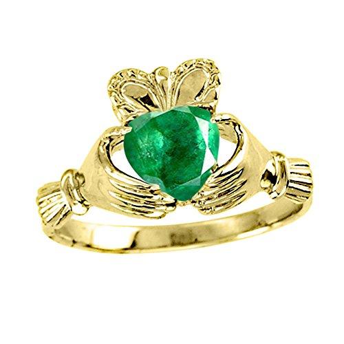 RYLOS Anillos para mujer de oro amarillo de 14 quilates - Claddagh Ring Claddah Love, Lealtad & Amistad Anillo de piedra preciosa de color para mujeres Anillos de oro