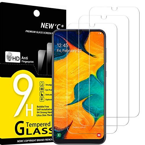 NEW'C 3 Unidades, Protector de Pantalla para Samsung Galaxy A30, Galaxy M30, Galaxy M30s, Antiarañazos, Antihuellas, Sin Burbujas, Dureza 9H, 0.33 mm Ultra Transparente, Vidrio Templado Resistente