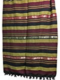 Indian Classic Ribbed Cotton Elephant Zari Brocade Border Coverlet Bedspread (Burgundy, Queen Size)