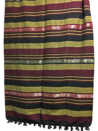 Rajastan Cottage Indian Classic Ribbed Cotton Elephant Zari Brocade Border Coverlet Bedspread (Burgundy, Queen Size)