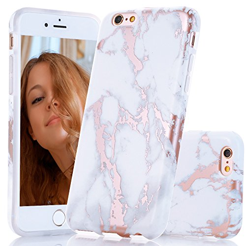 BAISRKE Shiny Rose Gold Marble Design Clear Bumper Matte TPU Soft Rubber Silicone Cover Phone Case Compatible with iPhone 6 Plus iPhone 6s Plus [5.5 inch] - White