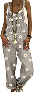 Huateng Donna Retro Cowboy Siamese Pantaloni Sottile Girasole Stampa Pantaloni Senza Maniche Abiti da Lavoro,S-3XL