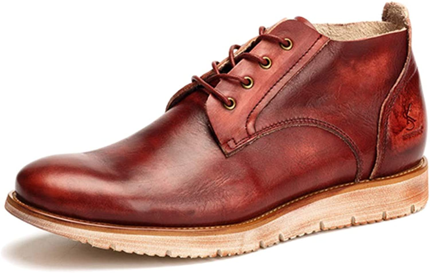 Casual shoes for Mens Vintage Brush-Off Genuine Leather Lace ups shoes Martin Boots High Tops Ankle Boots for Outdoor Hiking Desert Boots,Red,39