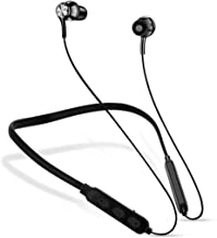 Wireless Bluetooth Headphones Earphone Bluetooth Wireless Neckband Flexible in Ear Headphones Headset with Mic Extra Deep Bass Hands Free Call Music Sports Earbuds Sweat Proof Black