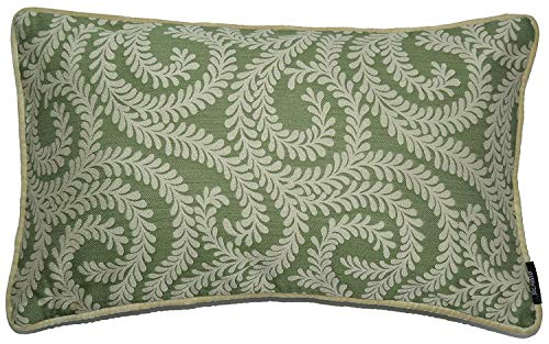 McAlister Textiles Liitle Leaf Housse de Coussin et Taie d'Oreiller en Toile Tissé Jacquard - Vert Clair - 50cm x 30cm