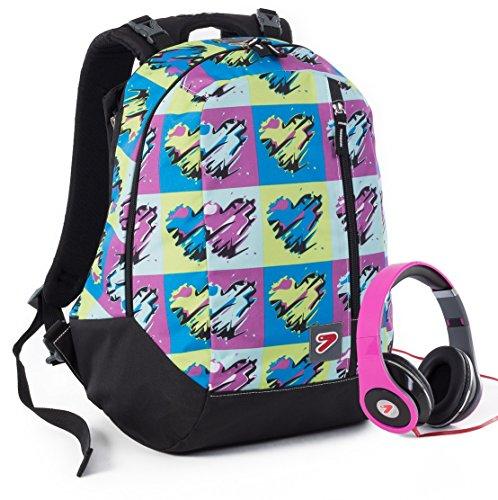 Rugzak SEVEN THE DOUBLE - POP HEART paars - groen omkeerbare rugzak met stereo koptelefoon met bijpassende grafiek school en vrije tijd nieuw 24 liter nieuw