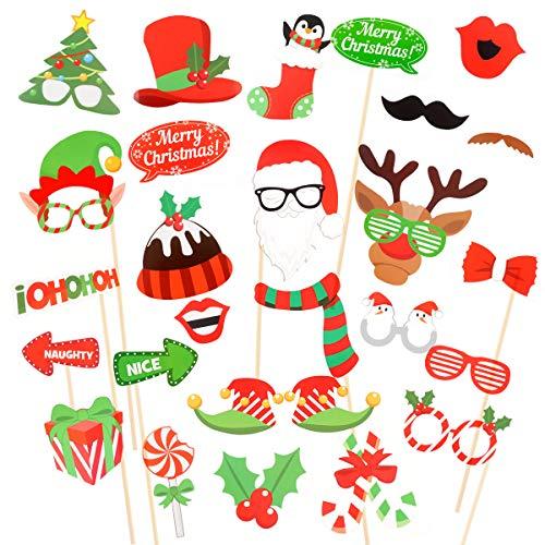 Achort 32 Pezzi Pezzi Oggetti di Scena per Foto di Natale Kit di Puntelli Photo Booth Props Occhiali Mustache Cappelli Labbra Cravatte Arco sul Bastone Regali per Matrimonio Partito Natale Compleanno