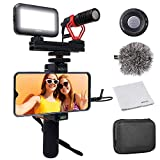 Movo Smartphone Video Kit V1 Vlogging Kit with Grip Rig, Shotgun Microphone, LED Light and Wireless Remote - YouTube Equipment Compatible with iPhone, Android Samsung Galaxy, Note - Vlogging Equipment