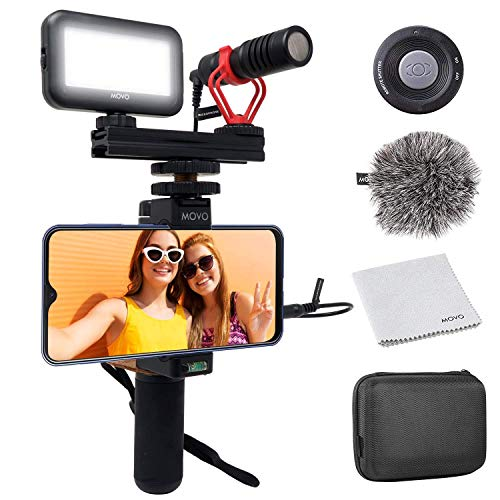 V1 Complete Vlogging Kit with Grip, Microphone and Light for iPhone and Android by Movo