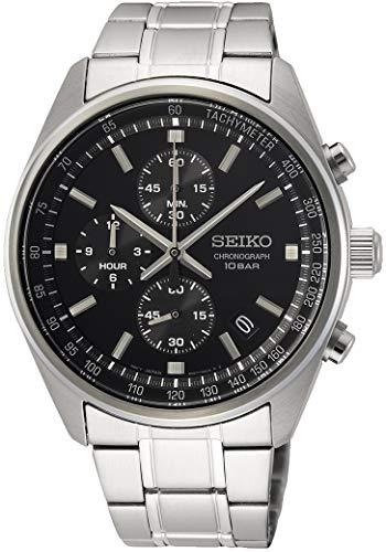 Seiko Herren Analog Japanischer Quarz Uhr mit Edelstahl Armband SSB379P1