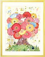 絵画 インテリア アート 「咲きつづく日々」 額入りLL(690×615mm) 花 玄関 リビング 病院 店舗 アートポスター 額付き 北欧 おしゃれ
