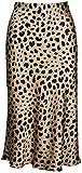 comefohome Falda con Estampado de Leopardo para Mujer Cintura Alta Cintura Elástica Oculta Faldas Midi L