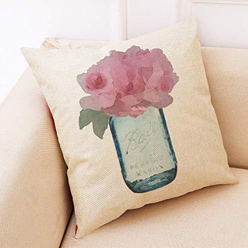 QYY Parfüm Vase Baumwolle und Leinen Kissenbezug Autokissen Sofa Kissen Kissen (Kissenbezug + Kissen)