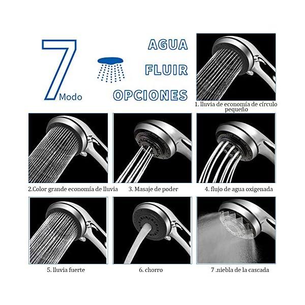 SOONAN Alcachofa de Ducha con Alta Presión 7 Modos de Chorro de Agua Universal Cabezal de Ducha con el Tubo Flexible 2M…