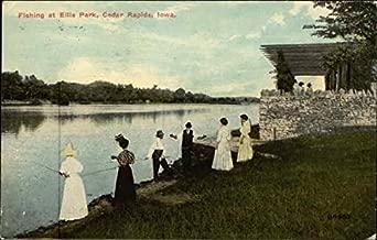 Fishing at Ellis Park Cedar Rapids, Iowa Original Vintage Postcard