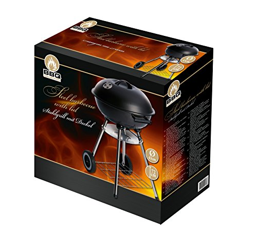 Barbecue charbon de bois avec couvercle, en acier - BBQ Collection - 44 x 47,5 x 72 cm - 45613