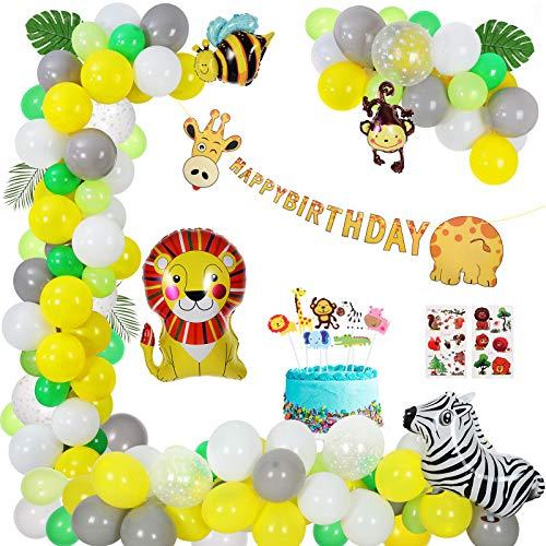 Animales Decoracion Cumpleaños Globos, Niños Fiesta Safari Bosque Selva Niño-Feliz cumpleaños Feliz con Hojas de Palma Globo Kit