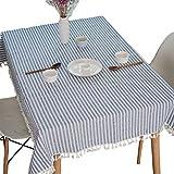 meioro Tovaglia A Strisce Tovaglie Rettangolare Tablecover in lino Tablecloth nappa a righe Adatto per Interni ed Esterni (Strisce blu/bianche, 100×140cm)