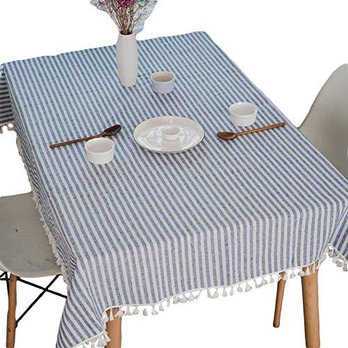 Meiosuns Manteles Rectangulares Mantel A Rayas Con Flecos Cubierta De Mesa De Lino De Algodón Adecuado Para La Decoración De La Cocina Del Hogar(140 × 200 Cm)