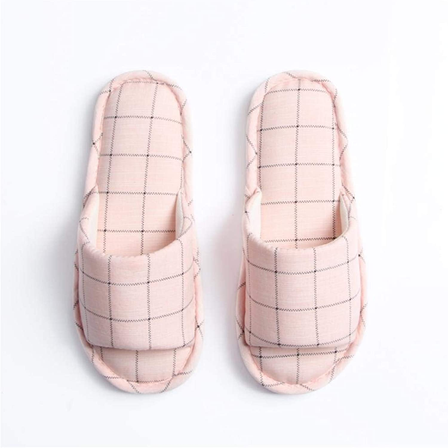 GouuoHi Womens Slippers Woman Casual Fashion Home Interior Non-Slip Plaid Pattern Pink Girlish Comfortable Cute Breathable Female Indoor Slippers