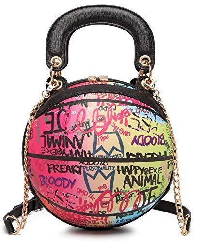Teridiva Bolso de baloncesto con forma de graffiti para mujer, redondo, bandolera, para mujer