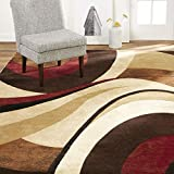 Home Dynamix Tribeca Slade Modern Area Rug, Abstract Brown/Red 7'10'x10'6'