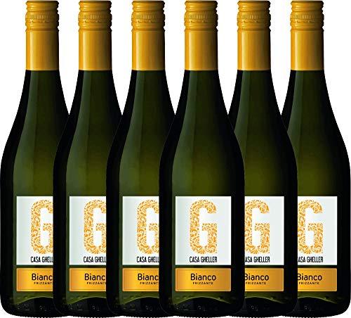 6er Paket - Bianco Frizzante IGT - Casa Gheller | trockener Perlwein | italienischer Wein aus Venetien | 6 x 0,75 Liter
