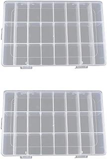 Xkfgcm Ajustable Caja de Almacenamiento de Plástico Joyería Organizador Contenedor de Herramientas Plastico Transparente Cajas Organizadoras con Compartimentos Organizador 195 * 130 * 35mm 2 Piezas