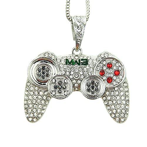 MMHAYOU Game Boy Konsole Anhänger Halskette, Hip Hop Halskette mit Gamepad-Anhänger, Lange Halskette (Color : Silver, Size : 90cm)