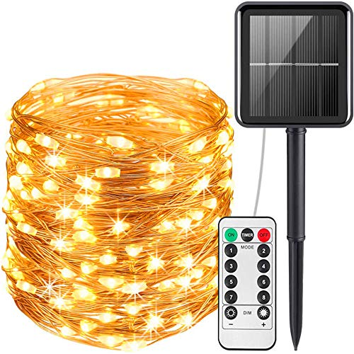 BOFYCW Solar Christmas Lights String Lights, Outdoor Waterproof 8 Modes Decorative Solar Copper Wire String Lightfor Party Yard Wedding Bedroom Decor(Warm White),300LED