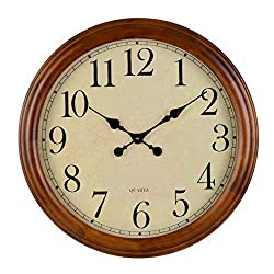 24-Inch Wood Silent Non-Ticking Battery Operated Decorative Wall Clock