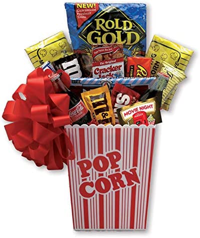 free 2 3 day delivery Family Movie Night Gift Basket full of Movie Night Snacks includes RedBox product image
