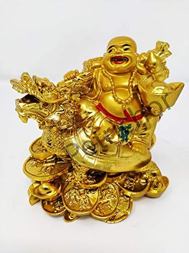 Petrichor Fengshui Laughing Buddha Statue Figurine Decor & Gift (Golden, 11 cm)