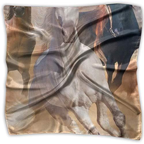 Caballos que corren en el campo de arena Pañuelo cuadrado estampado S para mujer Tocado Cuello Pañuelos de satén Pañuelo chal