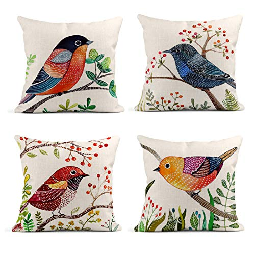Emvency Set of 4 Linen Throw Pillow Covers 18x18 Inches Home Decorative Cushion Colorful Animal Retro Flying Brids with Flowers Pillow Cases Square Pillocases for Bed Sofa