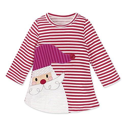 MEIHAOWEI Bébé Filles à Manches Longues Noël Santa Claus Dress C14