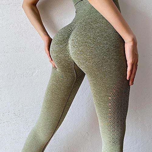 4-way stretch yoga-legging,Naadloze yogabroek met kleurovergang, dames legging met hoge taille-legergroen trompet,Yogabroek extra zachte legging met zakken voor dames