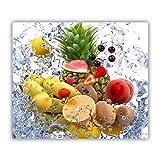 Tulup Tabla De Cortar Cocina 60x52cm - Vidrio Protector De Placa De Induccion - Frutas Y Agua