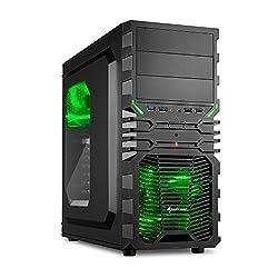 Sharkoon VG4-W Grün PC-Gehäuse mit Window Kit (2x USB 3.0, 2x USB 2.0, ATX) schwarz/grün